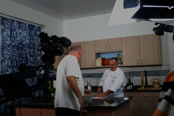 Producer Jeff Goertz and Chef Randal White on The Chef's Table set